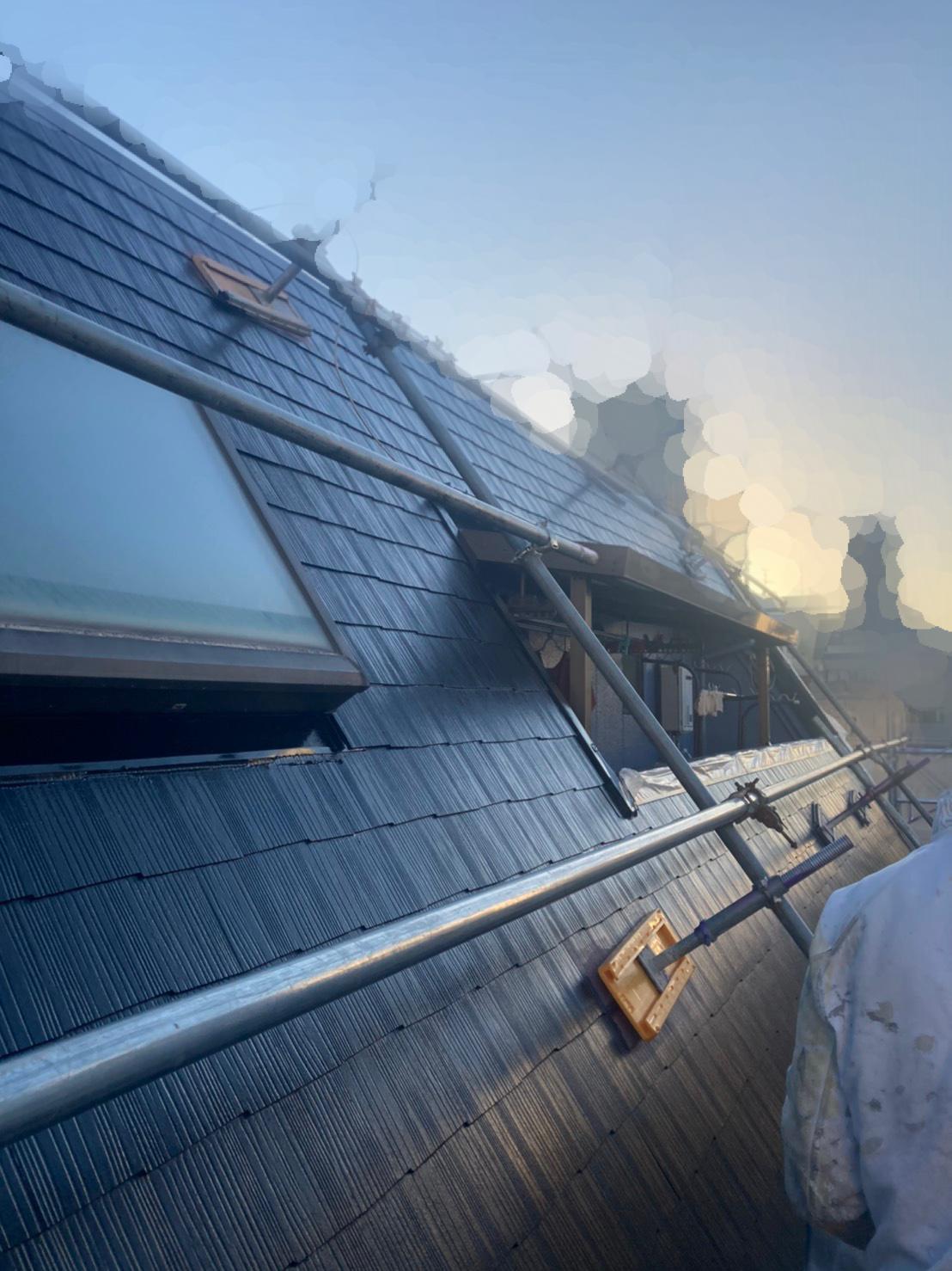 上塗り完了時の屋根